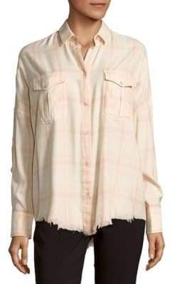 IRO Kaitlyn Frayed-Hem Plaid Shirt