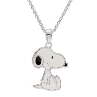 Snoopy Peanuts Sitting Brass Enamel Pendant Necklace