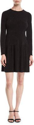 MICHAEL Michael Kors Flocked Long-Sleeve Dress with Shirred Skirt