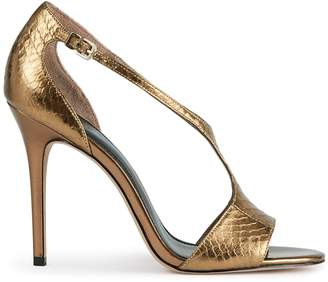 Reiss MAXINE METALLIC METALLIC OPEN-TOE SANDALS Goldmetallic