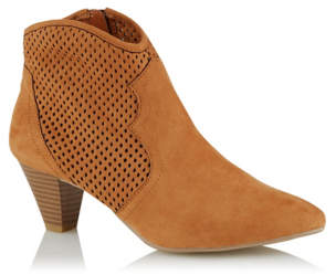 George Tan Cut Out Cowboy Style Ankle Boots