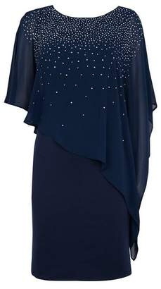 Wallis Navy Embellished Overlay Dress
