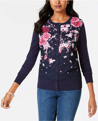 Charter Club Floral-Print Cardigan, Created for Macy's