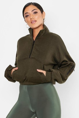 boohoo Zip Front High Neck Sweat