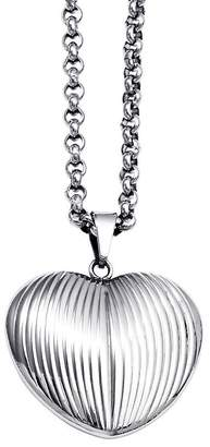 """Steel By Design Stainless Steel Textured Heart Pendant with 24""""Chain"""