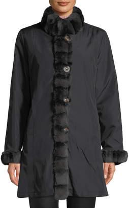 Belle Fare Reversible Long-Sleeve Rabbit-Trim Coat