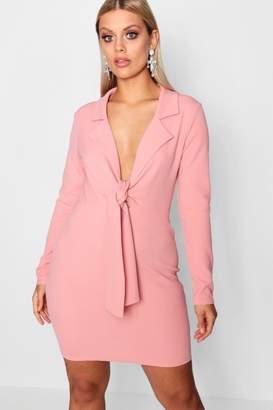 boohoo Plus Tie Front Blazer Dress