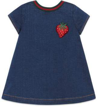 Gucci Baby jersey denim dress with patch