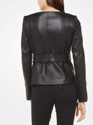 MICHAEL Michael Kors Leather Belted Moto Jacket