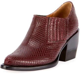 Chloé Snake-Embossed Chunky-Heel Ankle Bootie