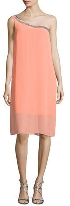 Laundry By Shelli Segal Embellished One-Shoulder Shift Dress, Fresh Salmon $245 thestylecure.com