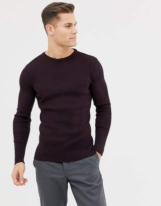 New Look muscle fit ribbed sweater in burgundy