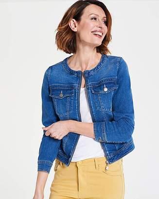 cbaa89388e228 Fashion World Collarless Zip Front Denim Jacket