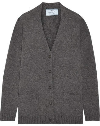 Prada Suede-trimmed Wool And Cashmere-blend Cardigan - Dark gray