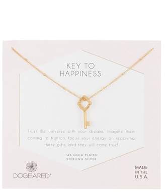 Dogeared 14K Gold Plated Sterling Silver Key to Happiness Crystal Halo Pendant Necklacce