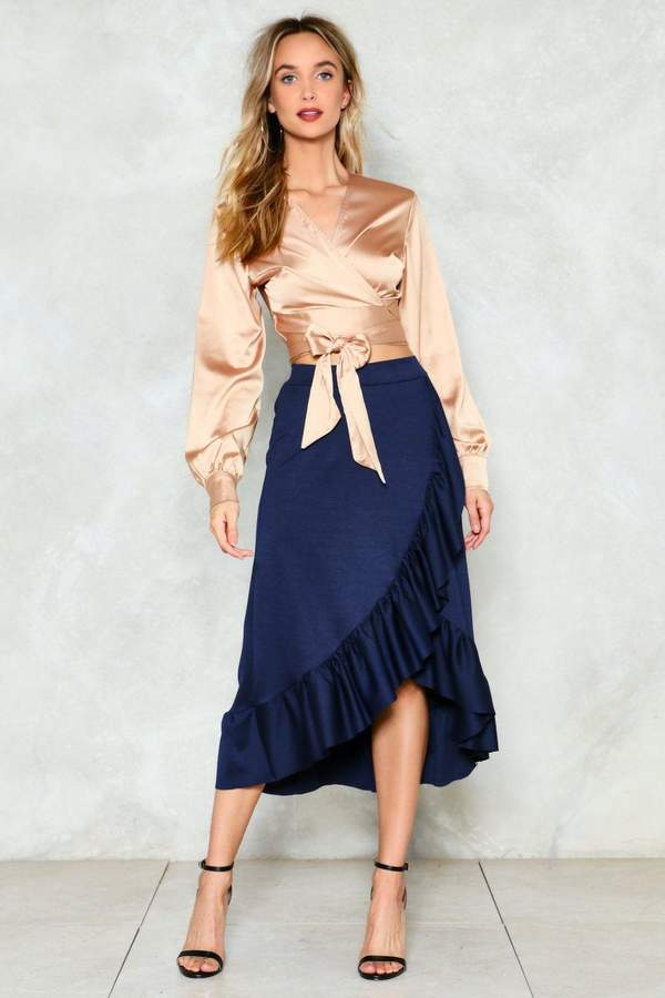 nastygal You Are So Sheen Satin Skirt