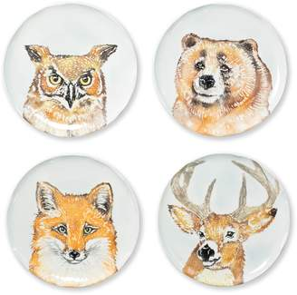 Vietri Into the Woods Set of 4 Assorted Salad Plates