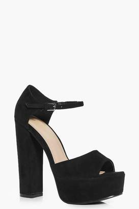 boohoo Platform Peeptoe Two Part Heels