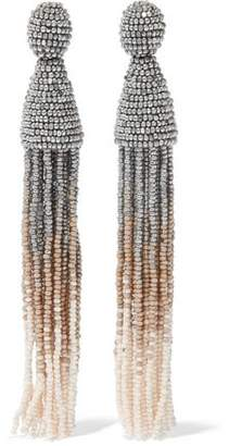 Oscar de la Renta Gold-Tone Beaded Tassel Clip Earrings