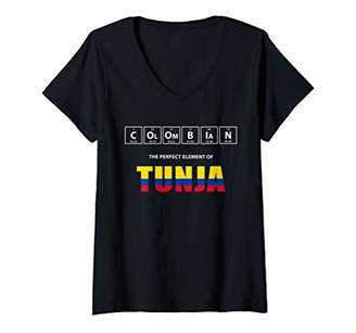 Womens Colombian The Perfect Element Of Tunja Colombia V-Neck T-Shirt