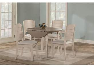 Hillsdale Furniture Clarion Five (5) Piece Round Drop Leaf Dining Set with Side Chairs, Sea White