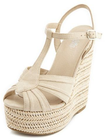 Charlotte Russe Pleated T-Strap Woven Wedge Sandal