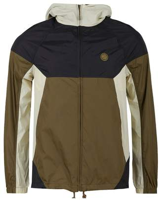 Pretty Green Zip Through Contrast Panel Jacket Colour: Khaki And Black