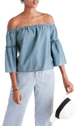 Women's Madewell Azalea Denim Off The Shoulder Top $72 thestylecure.com