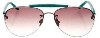 Linda Farrow Snakeskin Aviator Sunglasses