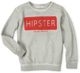 3 Pommes Boys 4-7) Flocked Hipster Fleece Pullover