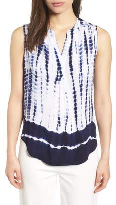 Anne Klein Tie Dye Sleeveless Split Neck Top