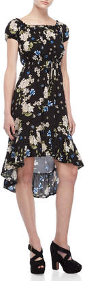 Almost Famous Floral Hi-Low Ruffled Dress