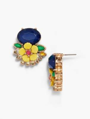 Talbots Layered Flowers and Stones Stud Earrings