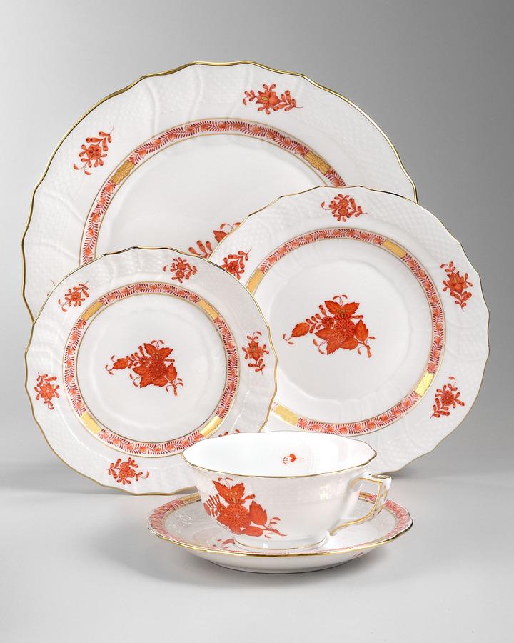 Herend Chinese Bouquet Dinnerware, Rust