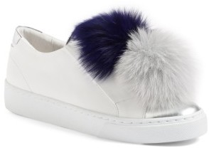 Women's Here / Now Arian Genuine Fox Fur Trim Sneaker