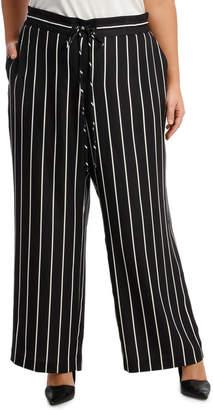 Pant Stripe Wide Leg Elastic Waist
