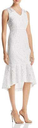 Adrianna Papell Cynthia Lace Flounce Sheath Dress