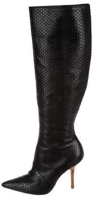 Report Signature Embossed Leather Knee-High Boots