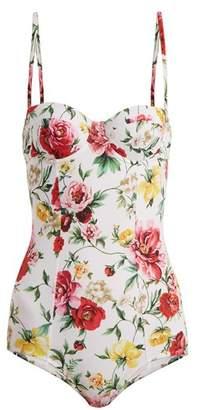5bc14a14284ae COM · Dolce   Gabbana Floral Print Balconette Swimsuit - Womens - White  Multi