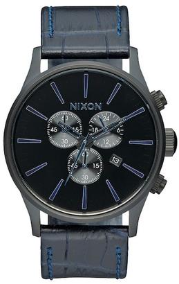Nixon Men's Sentry Chrono Gator Leather Watch $275 thestylecure.com