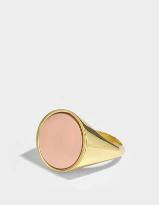 Joanna Laura Constantine Pinky Monochrome Ring in Gold-Plated Brass and Coral Stone