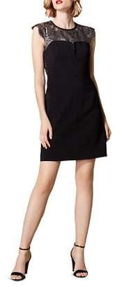 Karen Millen Metallic Lace-Inset Sheath Dress