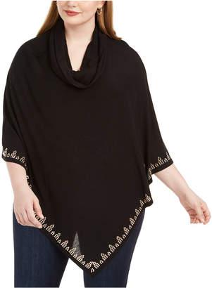 Belldini Plus Size Cowl-Neck Rhinestone-Embellished Poncho