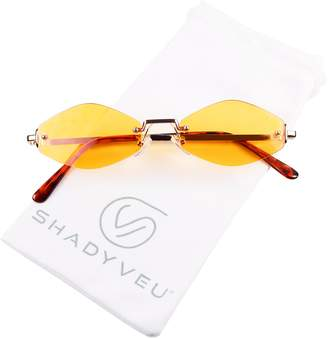 b6d53b7cb7af8 ShadyVEU - Slim Narrow Diamond Shape Rimless Metal Gold Colorful Tint  Skinny Sunglasses (