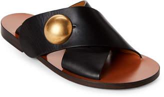 Chloé Black Crisscross Leather Slide Sandals