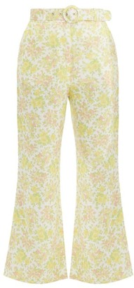 Zimmermann Goldie Floral Print Kick Flare Linen Trousers - Womens - Pale Yellow