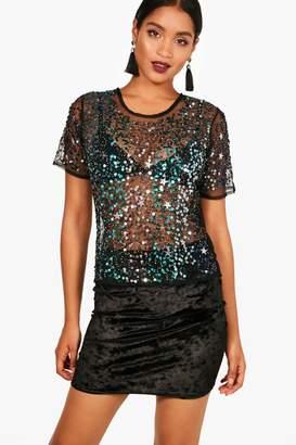 boohoo Ivy Star Sequin Embellished Mesh Crop