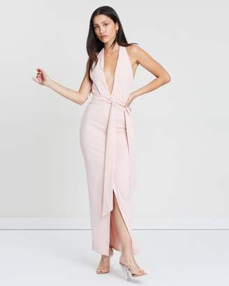 Missguided Plunge Tie Waist Midaxi Dress