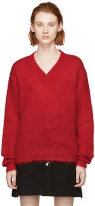 Miu Miu Red Mohair V-Neck Sweater