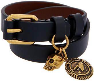 Alexander McQueen Skull Wide Leather Wrap Bracelet